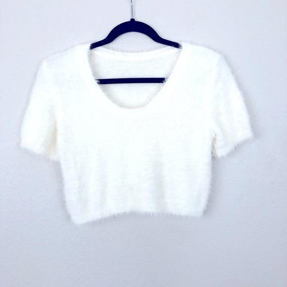 ASOS Fuzzy Short Sleeve Crop Top White 12